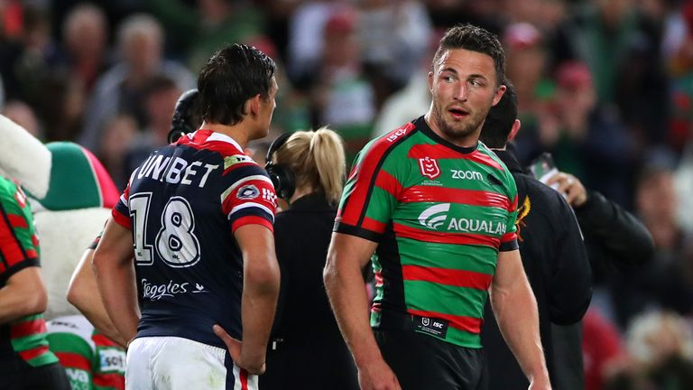 Sam Burgess has been banned after a clash with the Roosters' Billy Smith