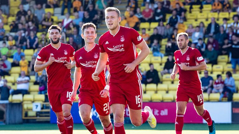 Aberdeen's Sam Cosgrove celebrates his goal in the win over Livingston