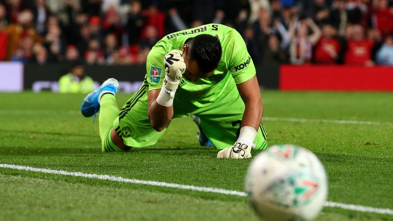 Sergio Romero saved Jimmy Keohane's penalty in the shoot-out to help send Man Utd into the fourth round