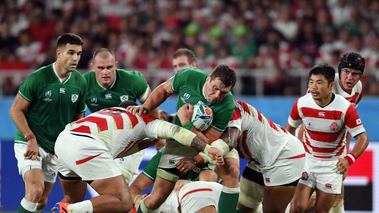 The Japanese combined to stop Ireland on the gain-line with combination tackles regularly