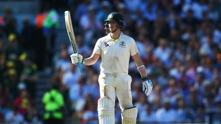 Steve Smith celebrates his record 10th successive fifty against England as he notched 80 on day two
