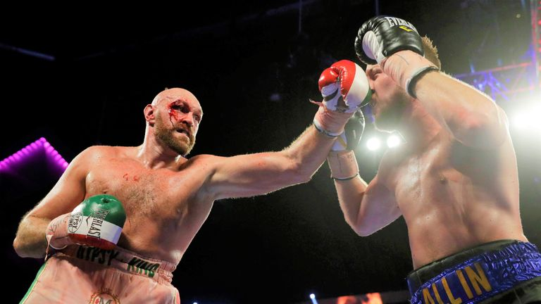 Tyson Fury overcame a cut to defeat Otto Wallin in September