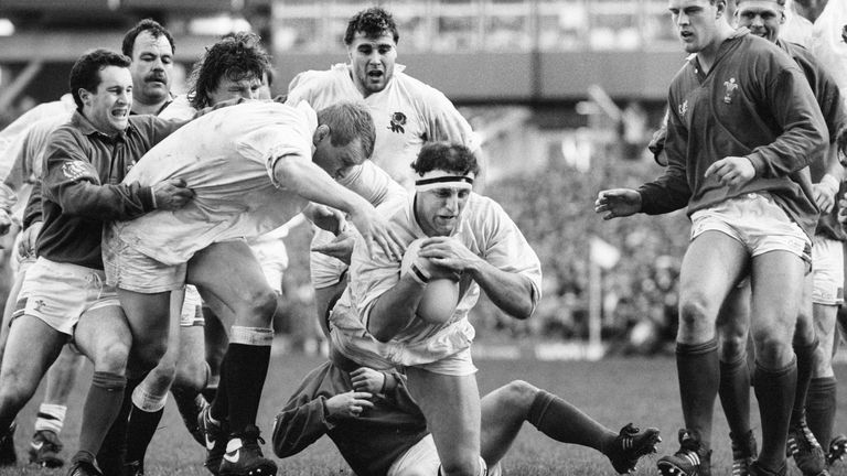 Wade Dooley scores a try against Wales in 1992