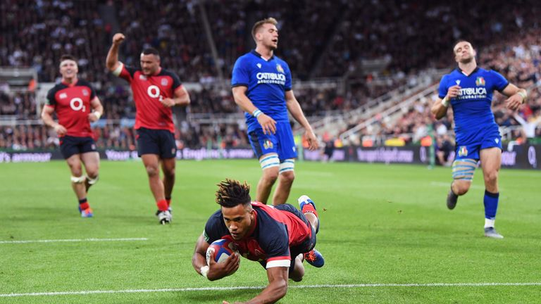 Anthony Watson rounded off the England try scoring with a fourth late on