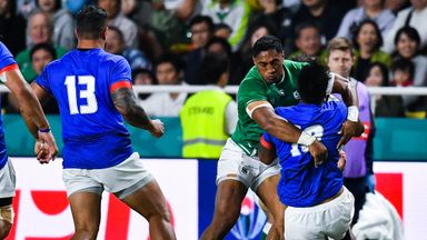 Bundee Aki was sent off for this tackle on Samoa fly-half Ulupano Seuteni