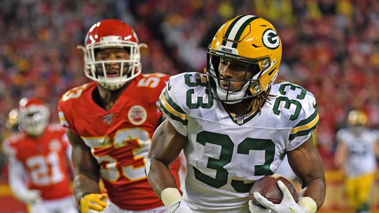 Aaron Jones had a huge night on the ground and through the air