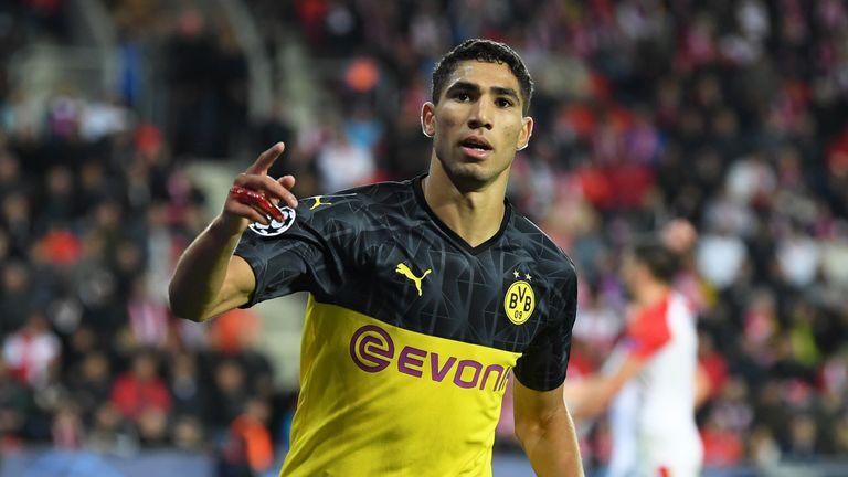 Achraf Hakimi scored twice for Borussia Dortmund