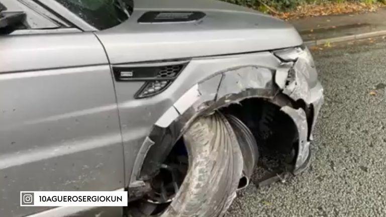 Sergio Aguero's car following the crash on Wednesday morning (Credit: @10sergioaguerokun/Instagram)