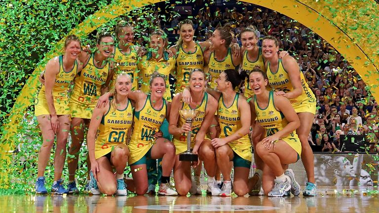 Australia celebrating securing the title on home soil in Perth