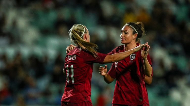 Mead celebrates with Jodie Taylor after scoring England's winner