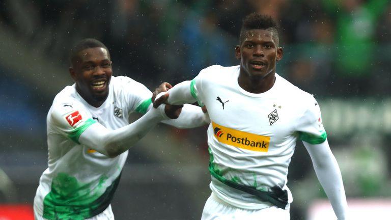 Breel Embolo celebrates after scoring Monchengladbach's fifth goal