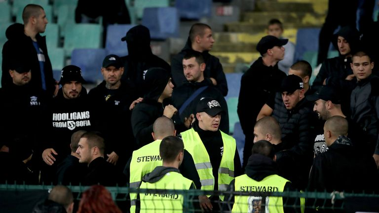 Stewards at Bulgaria's match against England