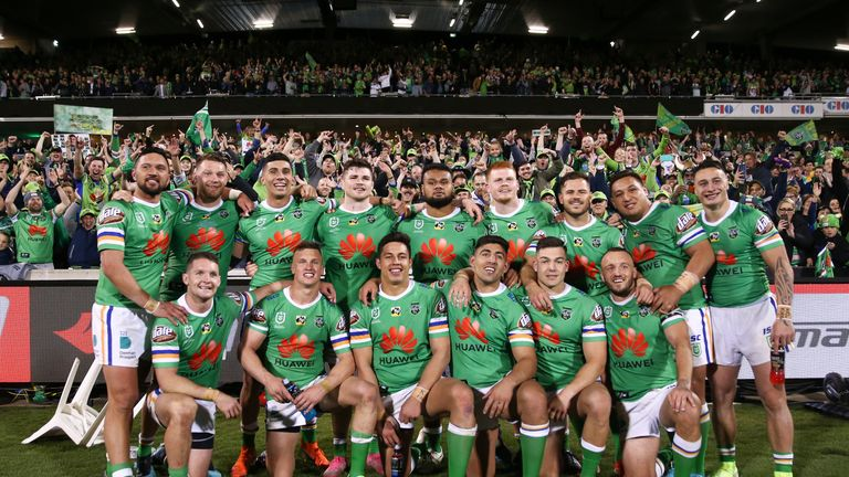 Canberra Raiders celebrate after defeating South Sydney in the play-offs