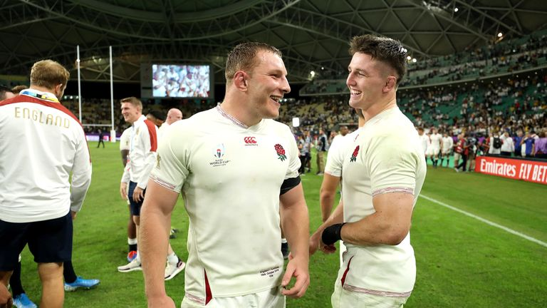 Sam Underhill and Tom Curry (r) share a joke after England's quarter-final win against Australia on Saturday