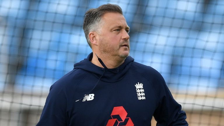 Darren Gough taking part in an England nets training session