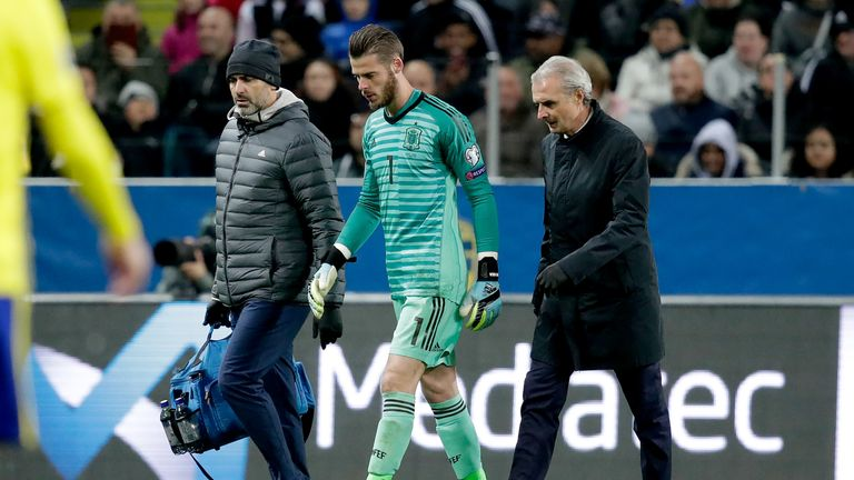 David de Gea was forced off through injury in Spain's European Qualifier in Sweden
