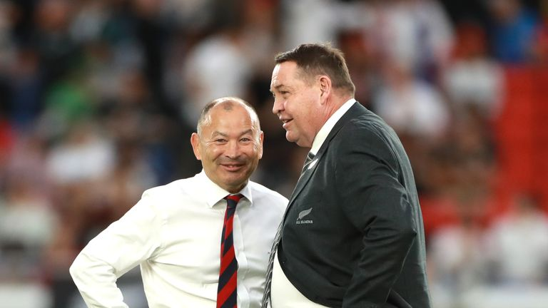 Eddie Jones (L) of England and Steve Hansen enjoy a laugh during the Rugby World Cup 2019 Semi-Final match