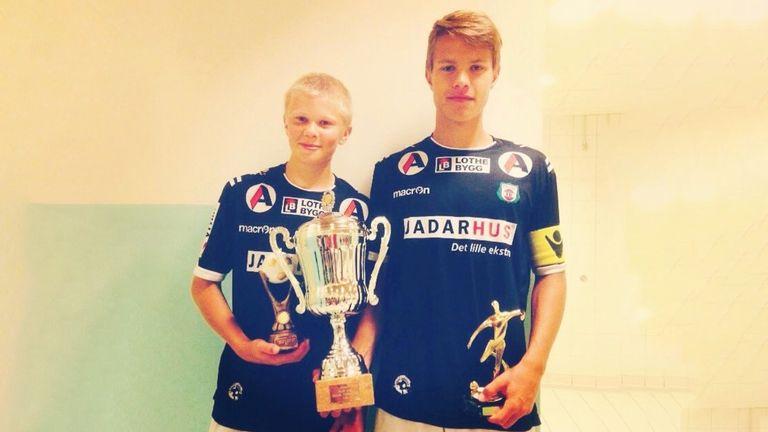 Haaland (left) pictured alongside former Bryne team-mate Tord Salte aged 14