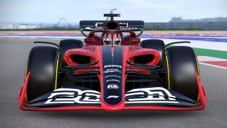 A mock-up of the next-generation of Formula 1 car...which will now be seen in 2022