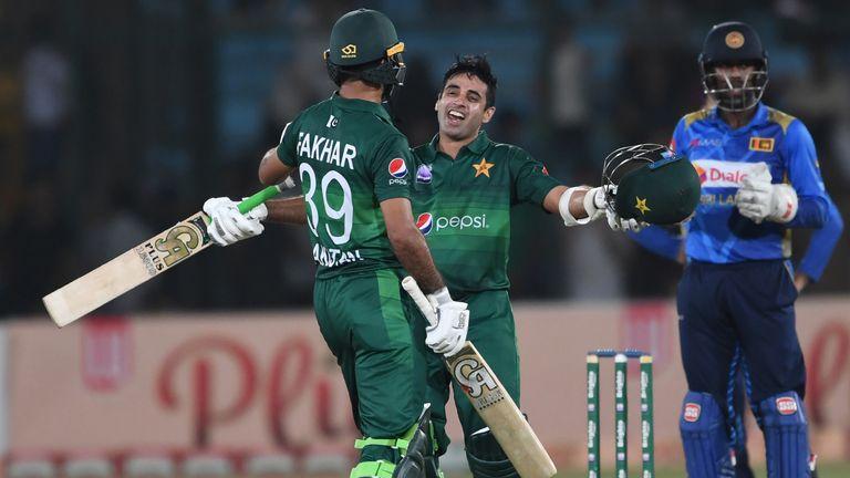Fakhar Zaman and Abid Ali celebrate as Pakistan beat Sri Lanka in the recent ODI series on home soil