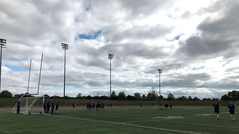 Featherstone training at Centennial Park in Toronto