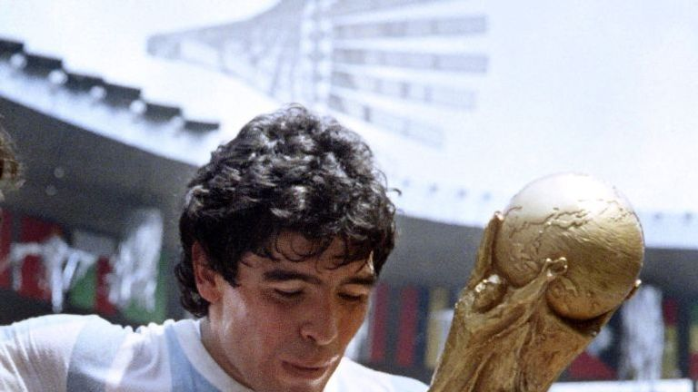 Maradona after winning the World Cup with Argentina in 1986