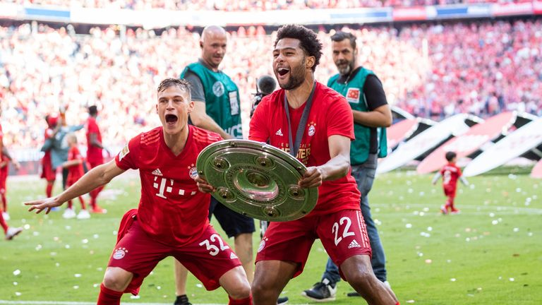 Gnabry celebrates Bayern Munich's  Bundesliga title win with Joshua Kimmich