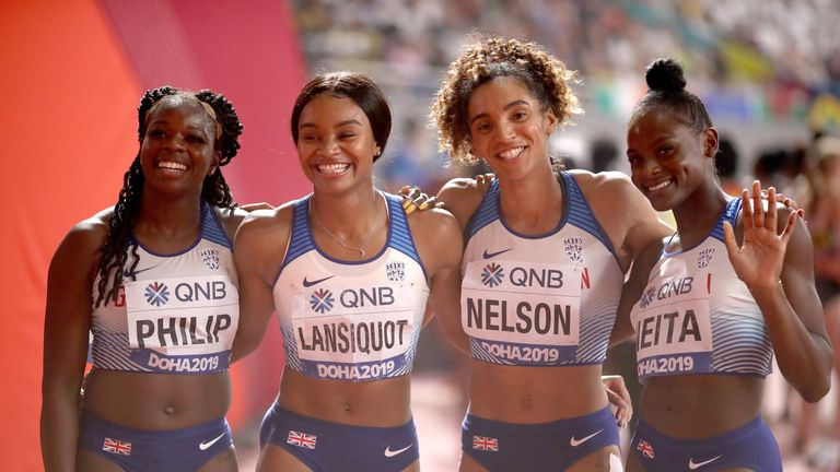 Lansiquot (second left) is a key member of GB's sprint relay team