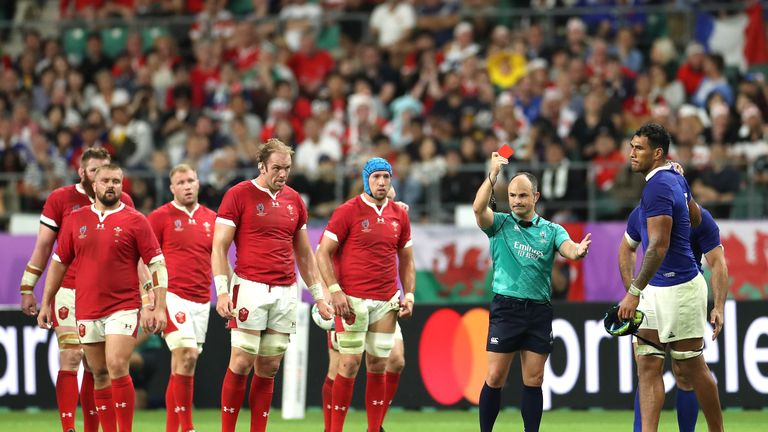 Jaco Peyper appeared to mock the elbow to the head that earned France lock Sebastien Vahaamahina a red card against quarter-final opponents Wales