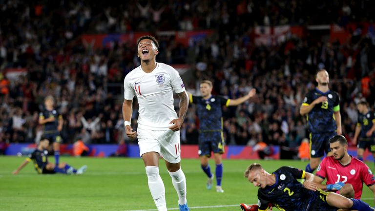 Sancho scored two in England's 5-3 win over Kosovo in September