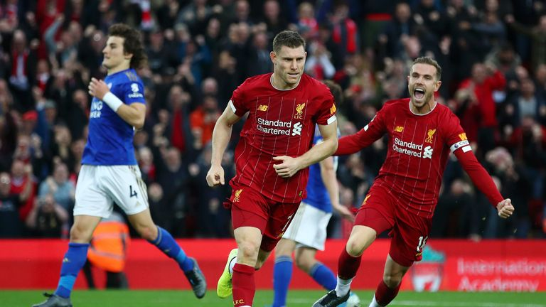 Milner's penalty was the 34th time Liverpool have scored a 90th-minute winning goal in a Premier League match