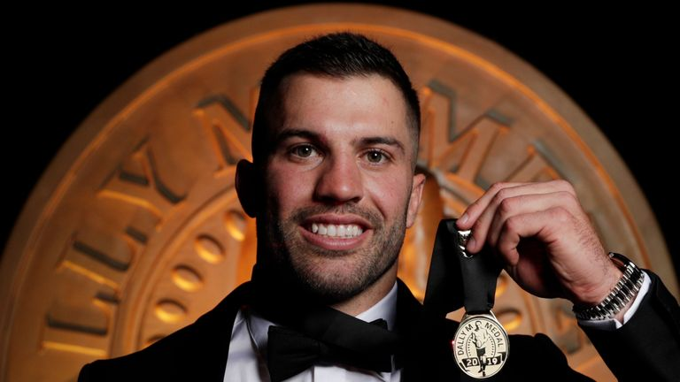 James Tedesco poses with the Dally M medal after being named as 2019 player of the year
