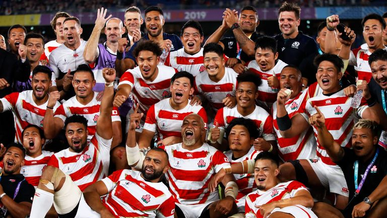 Japan secured their maiden World Cup quarter-final with a 28-21 victory against Scotland to thrill a joyous home crowd in Yokohama.
