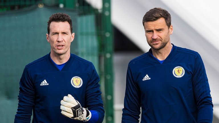 David Marshall (R) is hoping to feature at Euro 2021 despite the year-long delay