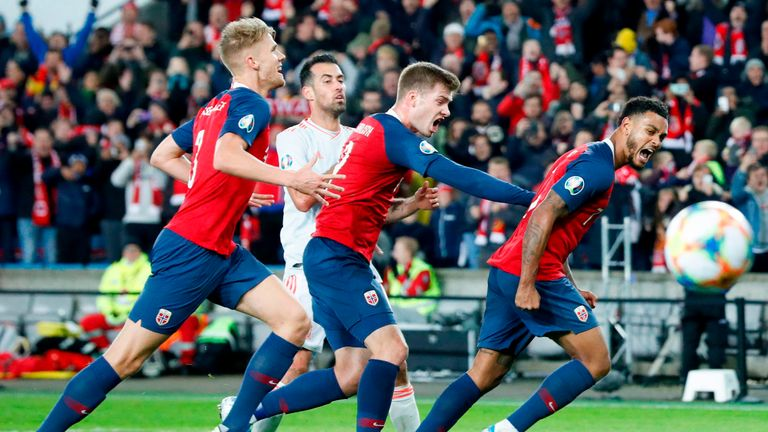 Josh King celebrates his late penalty for Norway against Spain
