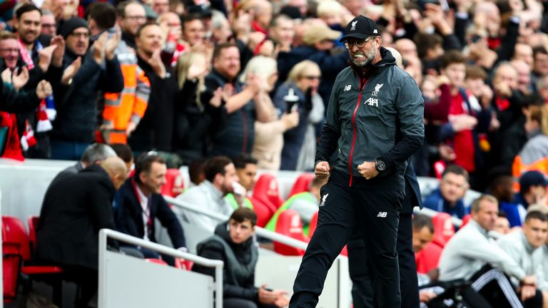 Jurgen Klopp celebrates Liverpool's dramatic late winner against Leicester