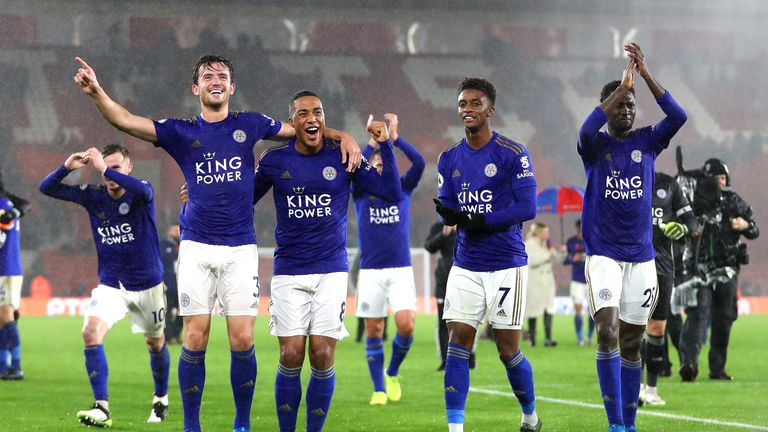 Leicester players celebrate after the massive victory