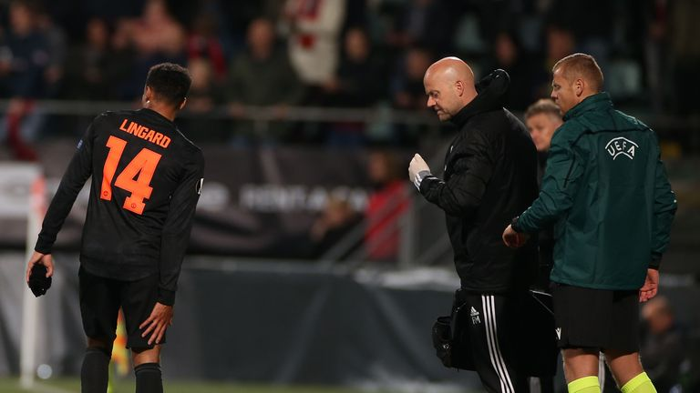 Jesse Lingard limped off during United's draw with AZ Alkmaar earlier this month