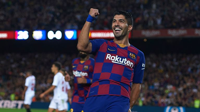Luiz Suarez opened the scoring for Barcelona on Sunday