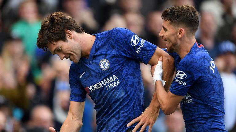 Alonso celebrates his goal with team-mate Jorginho