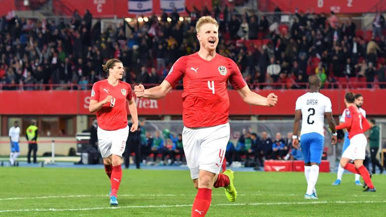Martin Hinteregger celebrates his goal against Israel