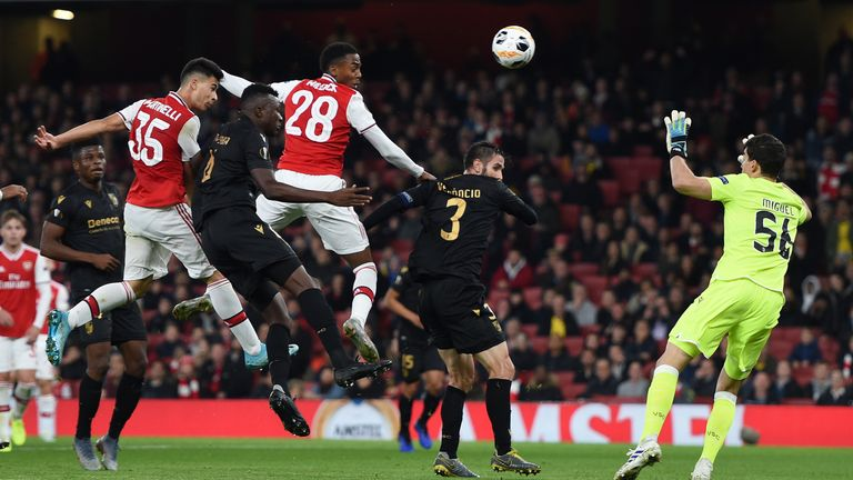 Gabriel Martinelli headed Arsenal level in the first half