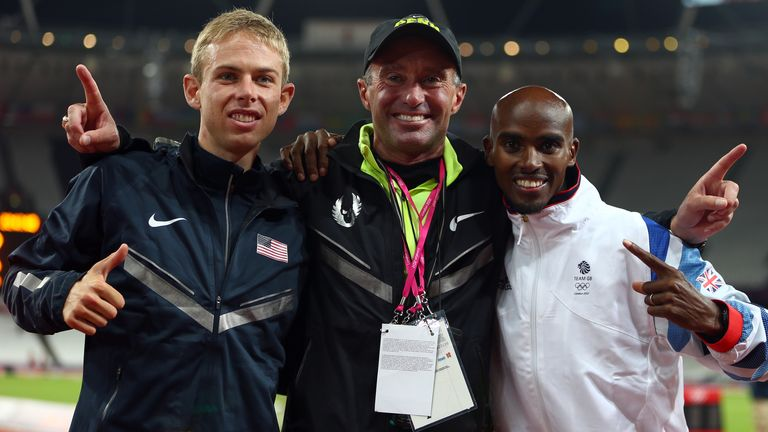 Sir Mo Farah (right), pictured with his former coach Salazar (centre) and USA's Galen Rupp (left) during the London 2012 Olympics