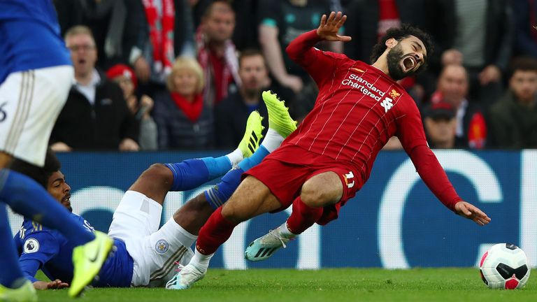 Hamza Choudhury was only booked for his challenge on Mohamed Salah
