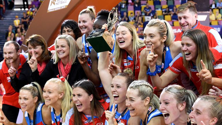 The NSW Swifts celebrating victory after beating Sunshine Coast Lightning in the 2019 Grand Final