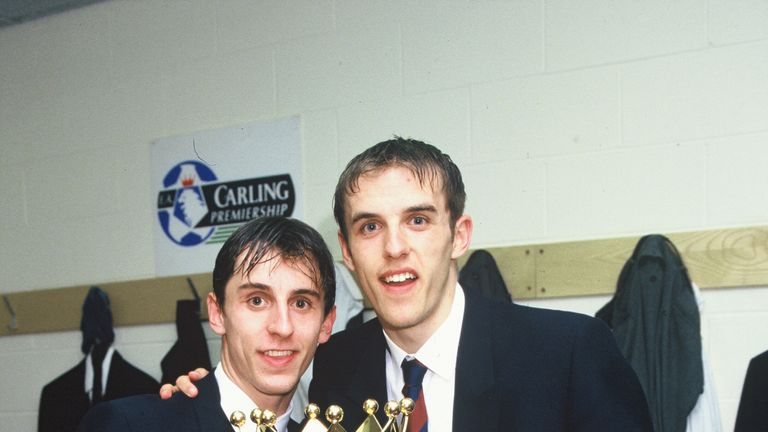 Gary and Phil won their first Premier League title as part of Man Utd's double-winning team in 1995/96