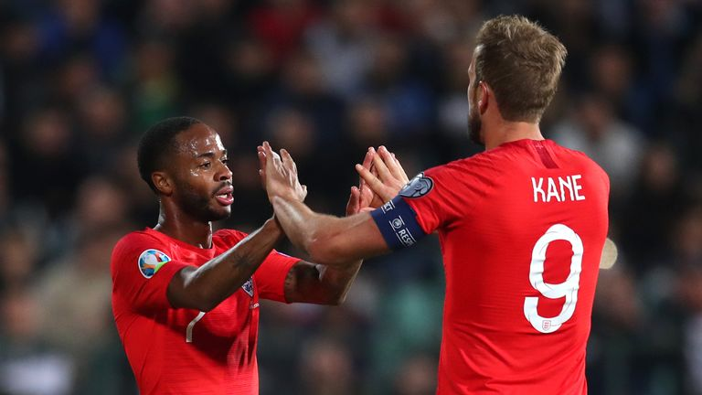 Raheem Sterling celebrates with Harry Kane after scoring England's fifth goal against Bulgaria