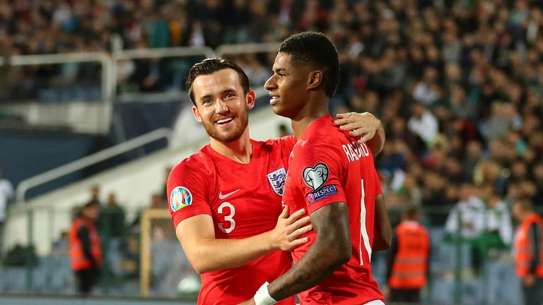 Ben Chilwell congratulates Marcus Rashford after his stunning opener