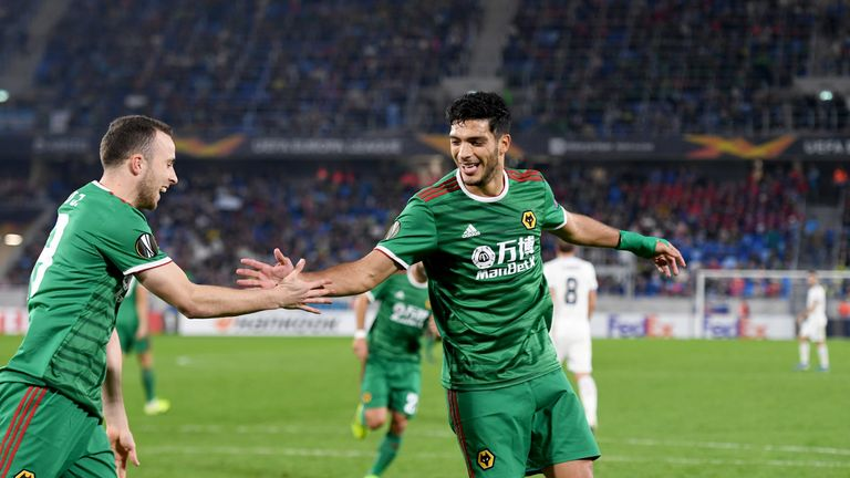 Raul Jimenez scored from the spot to give Wolves a 2-1 win at Slovan Bratislava last month