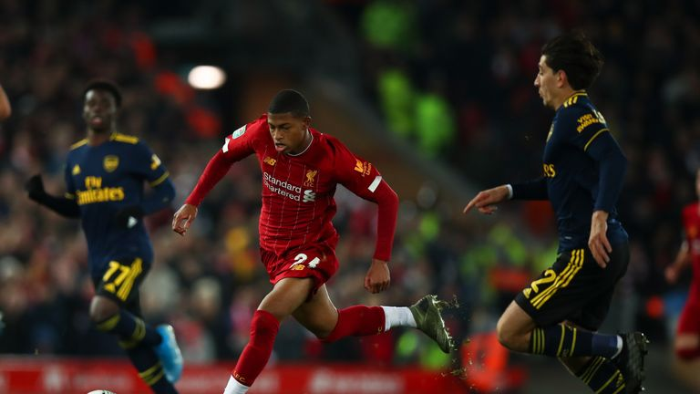 Rhian Brewster glides forward with the ball at his feet against Arsenal